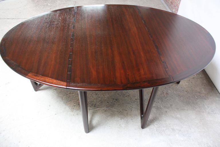 Niels Koefoed Elliptical Rosewood Gateleg 'Eva' Dining Table Model #304 7