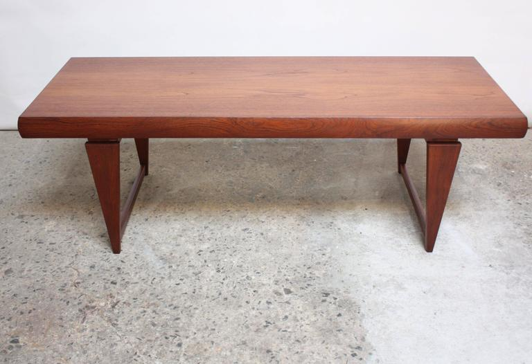 Danish modern teak extendable coffee table for sale at 1stdibs for Shallow coffee table