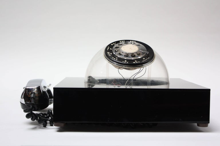 Mid-Century Modern Space Age Acrylic and Chrome 'Teledome' Rotary Telephone For Sale