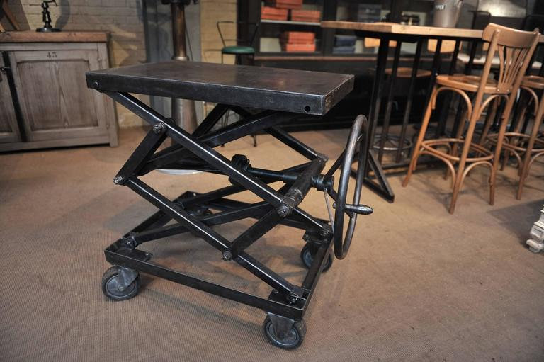 Industrial Iron Adjustable Rising Table On Wheels At 1stdibs