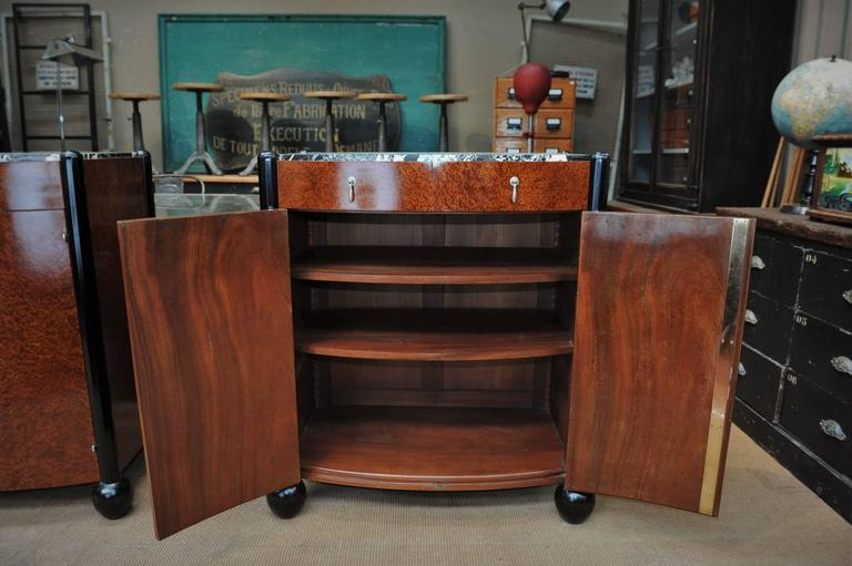 Pair of Art Deco Curved Burl Wood and Marble Buffets, circa 1925 6