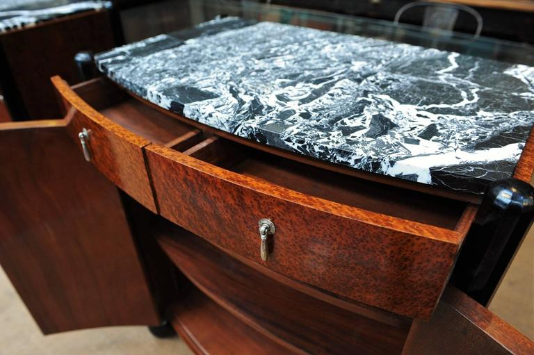 Pair of Art Deco Curved Burl Wood and Marble Buffets, circa 1925 8