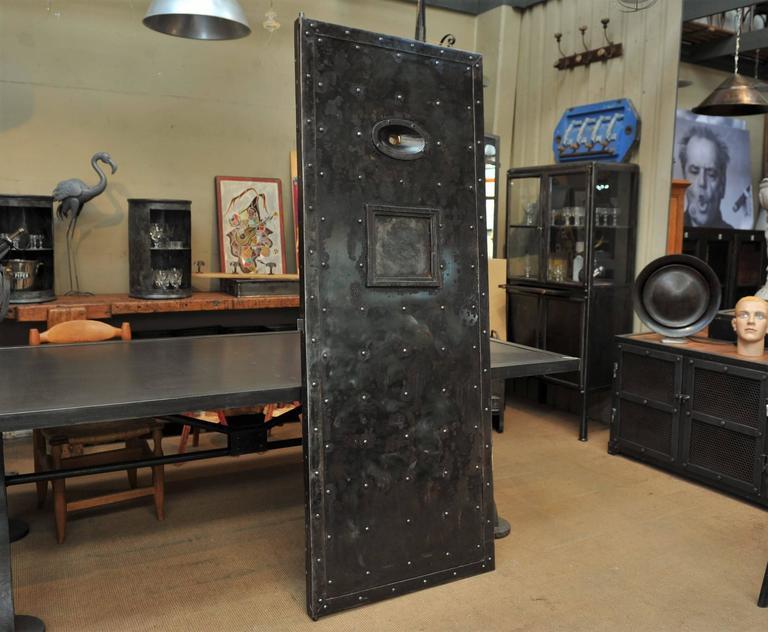 19th Century Riveted Iron And Pine Prison Door Circa 1850