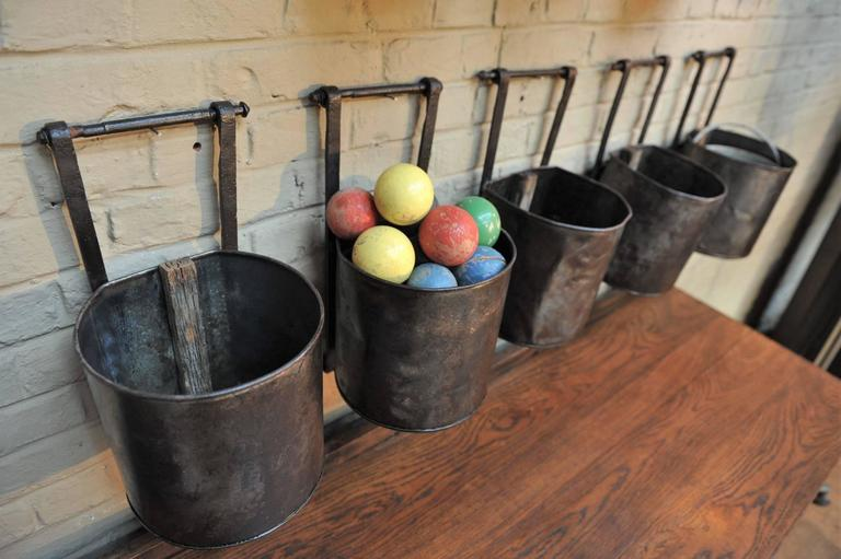 12 French Water Mill Iron Buckets, circa 1900 For Sale 1