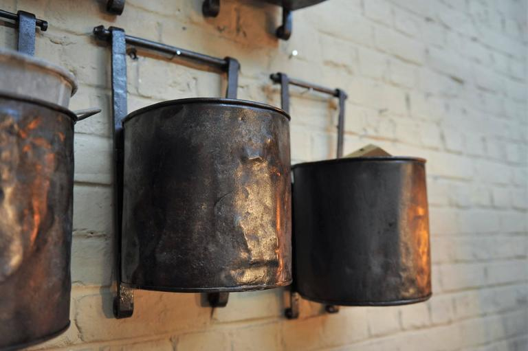 12 French Water Mill Iron Buckets, circa 1900 For Sale 2
