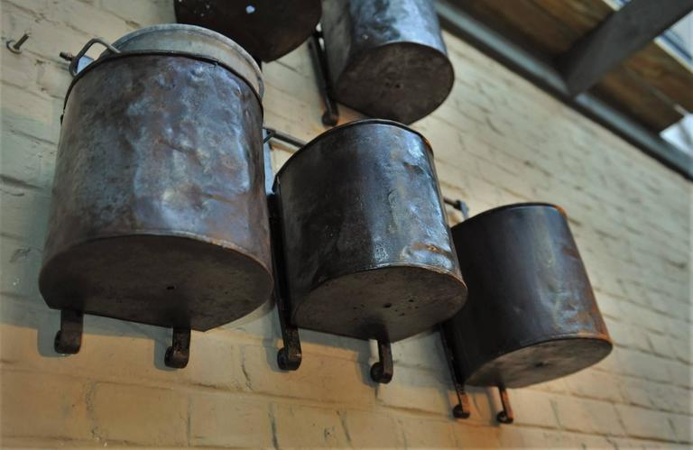 12 French Water Mill Iron Buckets, circa 1900 For Sale 5
