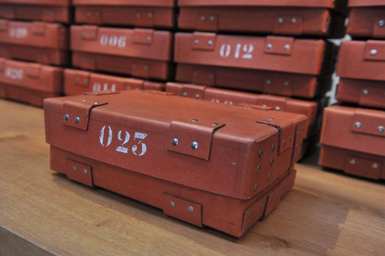 Industrial Vintage French National Bank Gold Bar Boxes, circa 1940 For Sale