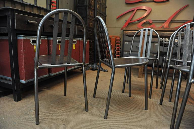 Mallet Steven Vintage Stackable Metal Chairs, 1940 In Excellent Condition  For Sale In Roubaix,