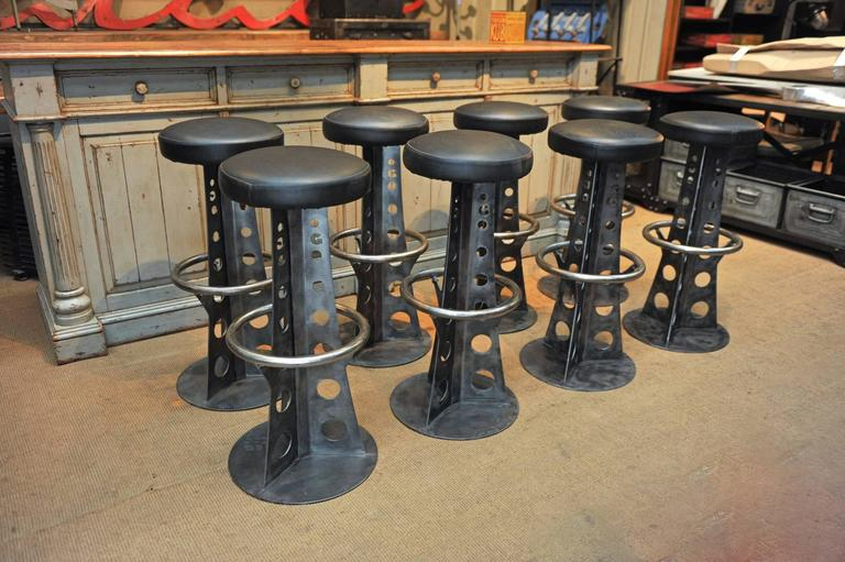 Iron And Faux Leather Seats Professional Bar Height Stools