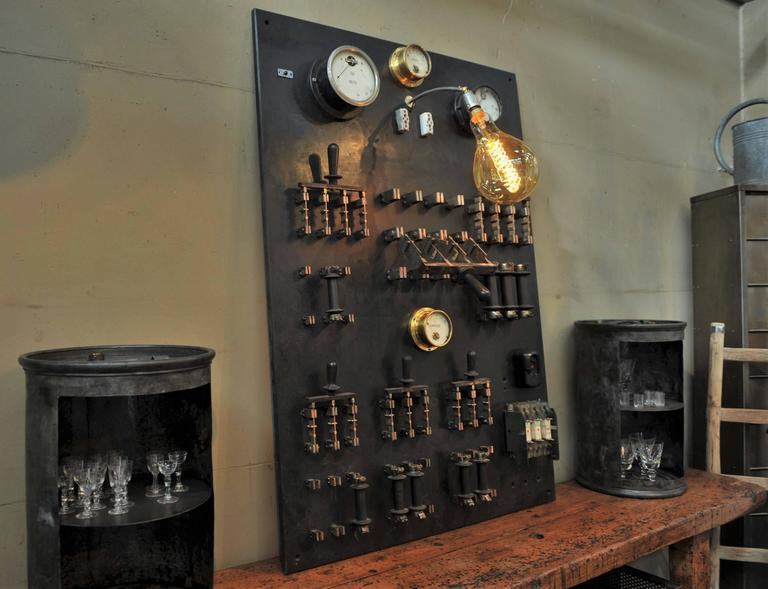 1940s French Factory Switchboard Industrial Wall Light At