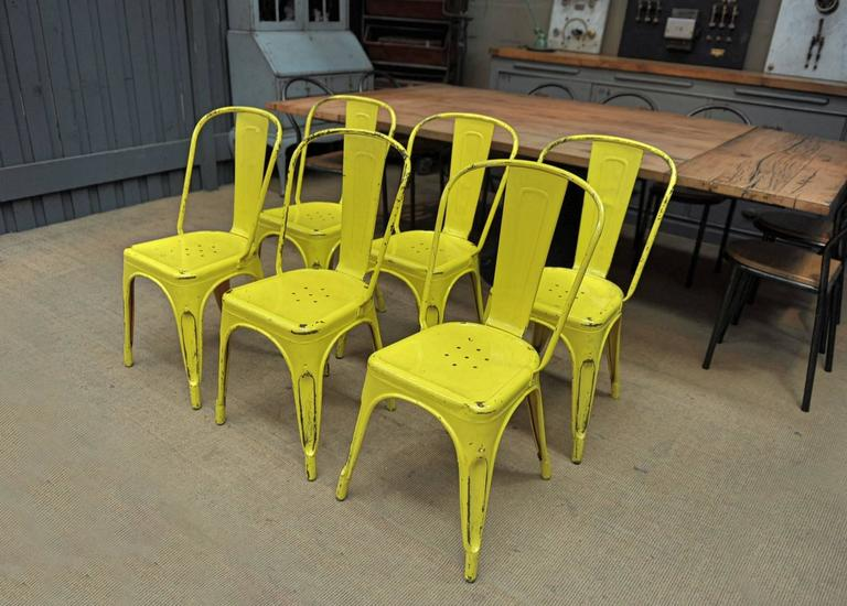 Charming Set Of Six Vintage Tolix A Chairs, Circa 1950 Vintage Yellow Patina  Designer: Xavier