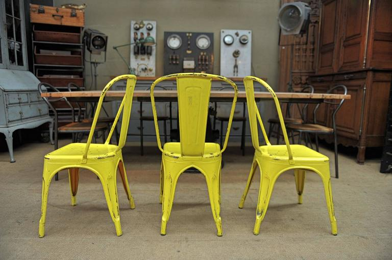 Superieur Mid Century Modern 6 Vintage 1950 Tolix Chairs Yellow Patina For Sale