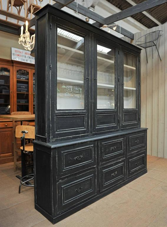 Large Buffet Two Corps Black Painted Pine Bookcase Cabinet