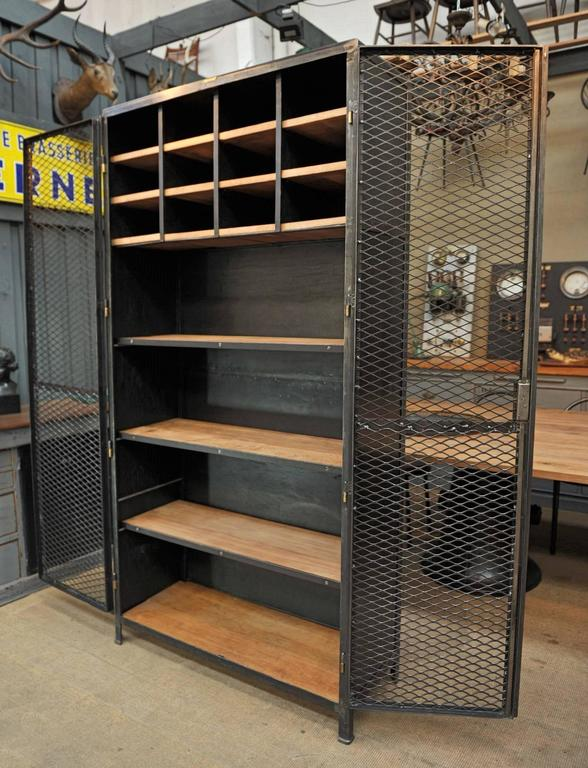 Large Industrial Mesh Doors Bookcase Iron Cabinet 1930s