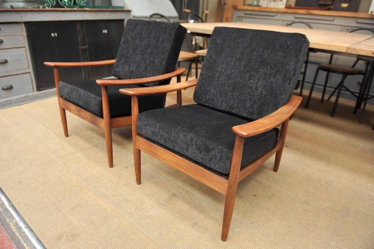 Pair of teak scandinavian chairs 1960s newly reupholstered for Reupholstered furniture for sale