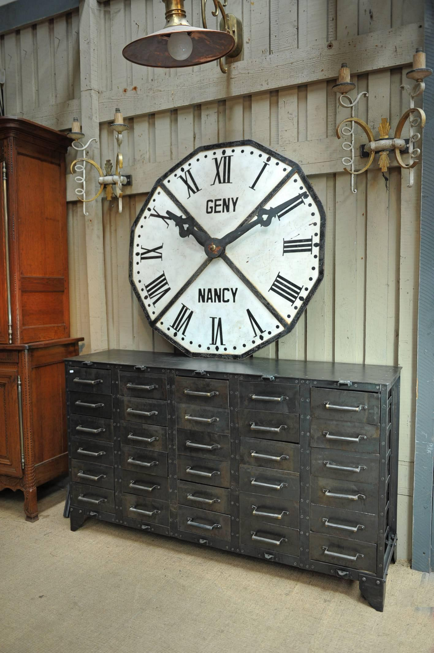 1900s french large iron train station clock face 3