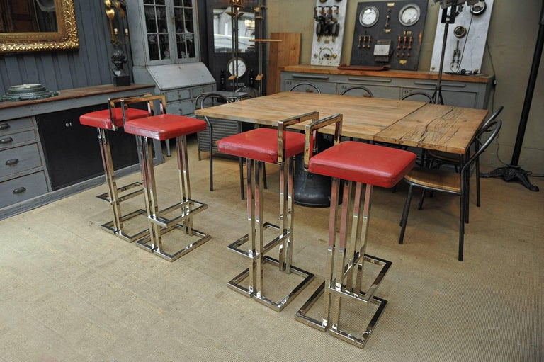 Set Of Four Leather And Chromed Bar Stools Maison Jansen