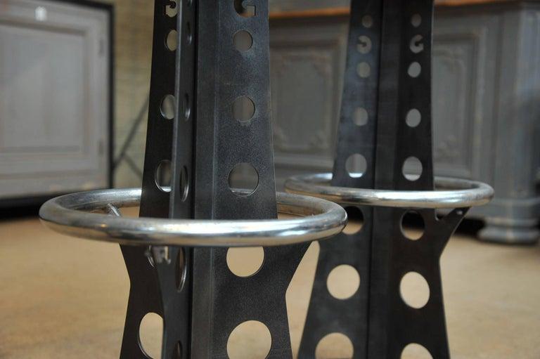 Set Of Three Eiffel Tower Iron Bar Stools At 1stdibs