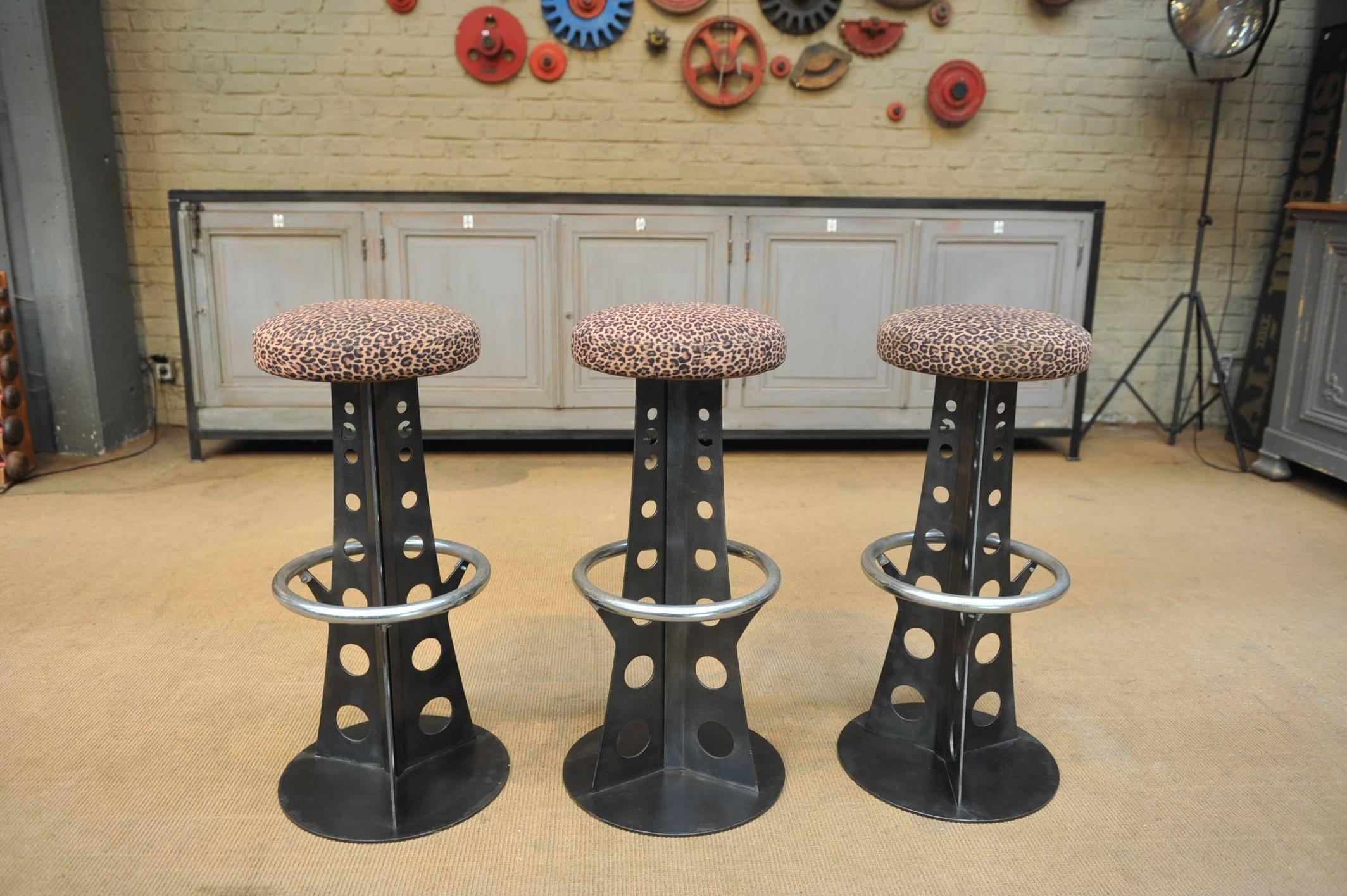 Set Of Three Iron And Fabric Seats Of Professional Bar Stools With Eiffel  Tower Shape Base