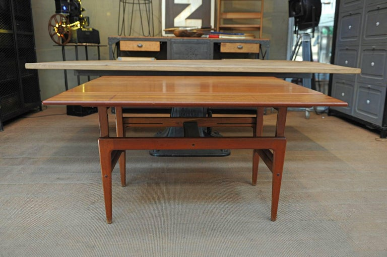 Rare Scandinavian Solid Teak Table With Opening System To Split From Small Coffee Large