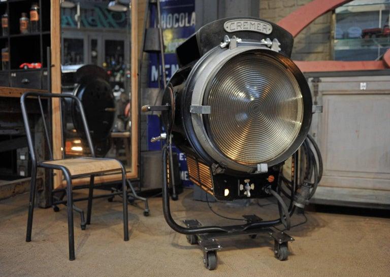 Huge French Cremer Metal Studio Lamp On Wheels Circa 1940