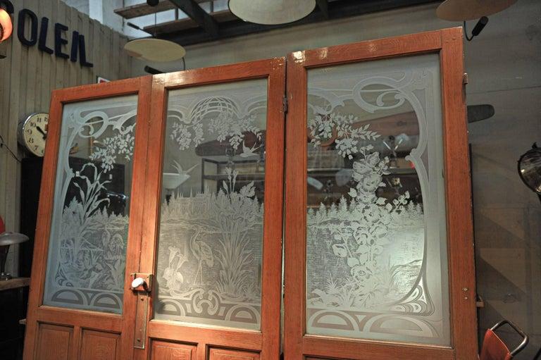 Set Of Three French Art Nouveau Craved Glass Inside Doors Circa
