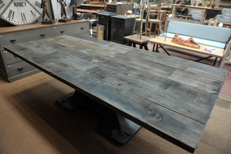 Industrial Valentin Paris, 1900 Cast Iron Base and Solid Oak Dining Table For Sale 5