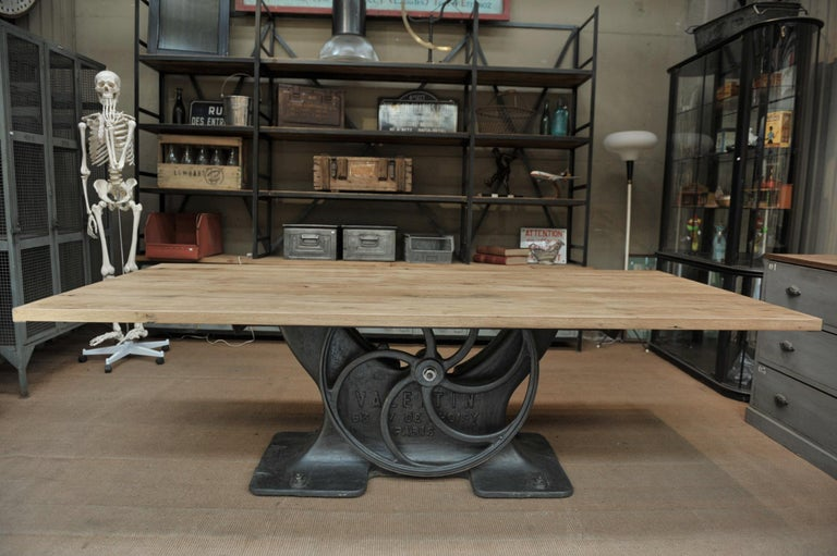 Early 20th Century Industrial Valentin Paris, 1900 Cast Iron Base and Solid Oak Dining Table For Sale