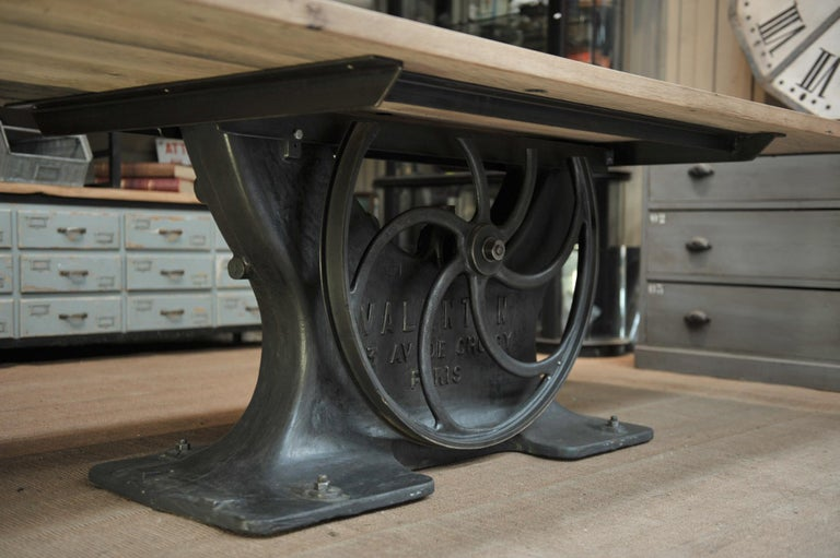 Industrial Valentin Paris, 1900 Cast Iron Base and Solid Oak Dining Table For Sale 1