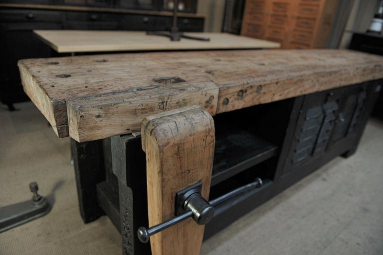 Metal Carpenter Vice Work Bench circa 1930 with Shutter Doors For Sale
