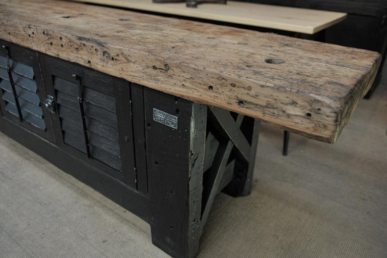 Mid-20th Century Carpenter Vice Work Bench circa 1930 with Shutter Doors For Sale
