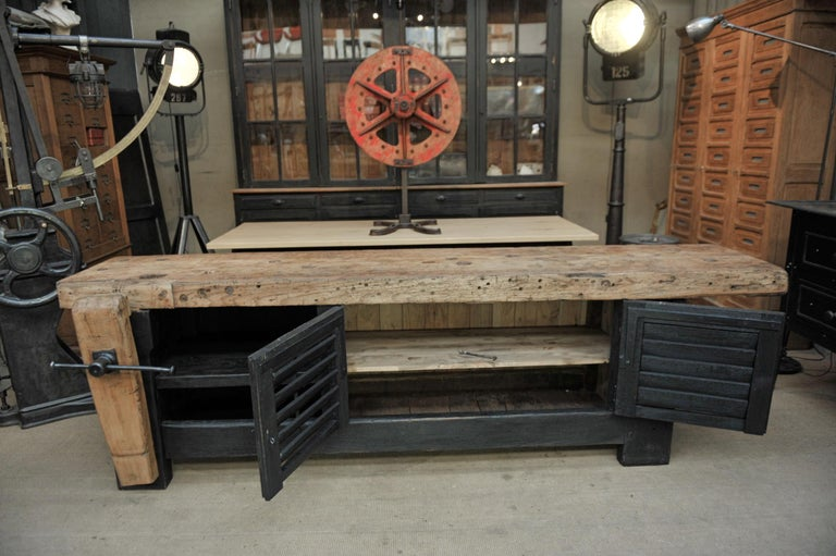 Industrial Carpenter Vice Work Bench circa 1930 with Shutter Doors For Sale