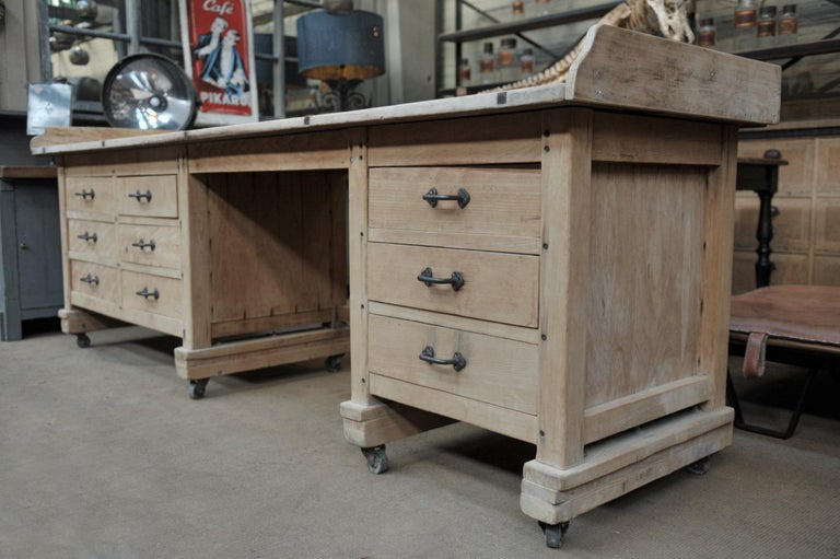 Early 20th Century Exceptional Long Baker Work Table with 9 Drawers, circa 1920 For Sale