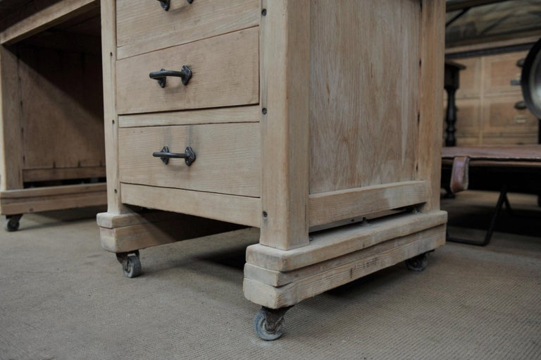 French Exceptional Long Baker Work Table with 9 Drawers, circa 1920 For Sale