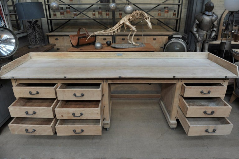 Art Nouveau Exceptional Long Baker Work Table with 9 Drawers, circa 1920 For Sale