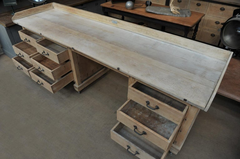 Iron Exceptional Long Baker Work Table with 9 Drawers, circa 1920 For Sale