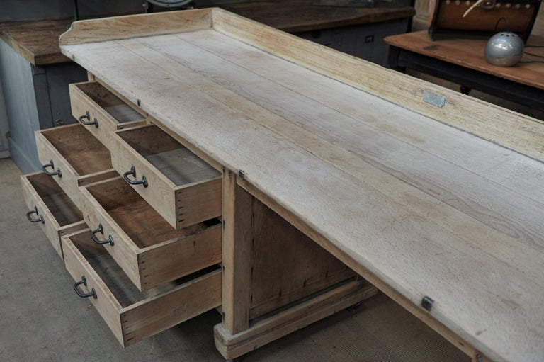 Exceptional Long Baker Work Table with 9 Drawers, circa 1920 For Sale 6