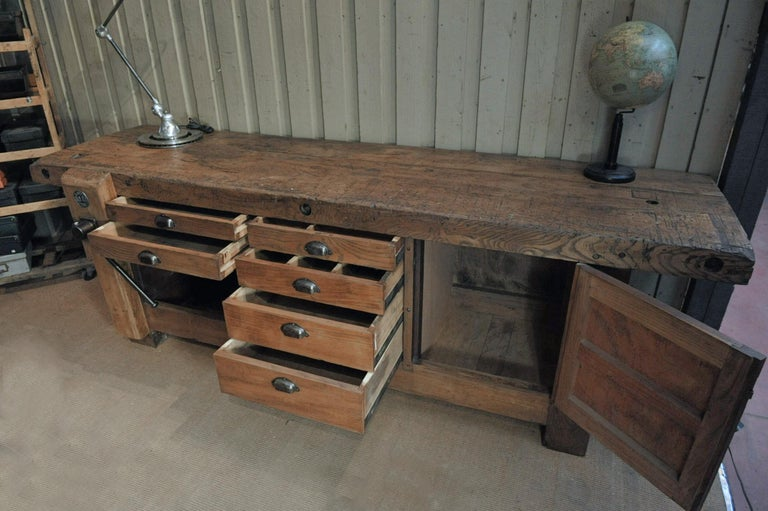 Large Carpenter Workbench with Vice 6 Drawers and 1 Door, circa 1920 For Sale 1