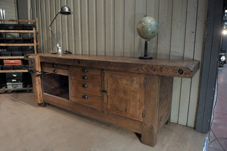 Large Carpenter Workbench with Vice 6 Drawers and 1 Door, circa 1920 For Sale 5