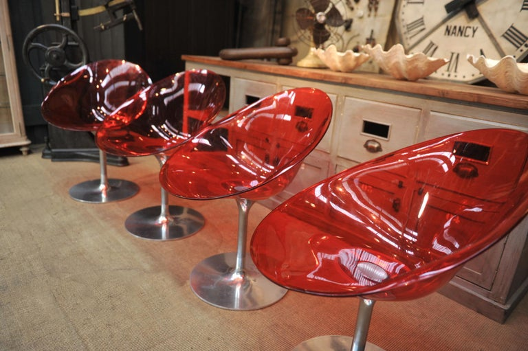 Set of 4 Seats in Orange Polycarbonate on Chrome Aluminium by Philippe Starck In Good Condition For Sale In Roubaix, FR