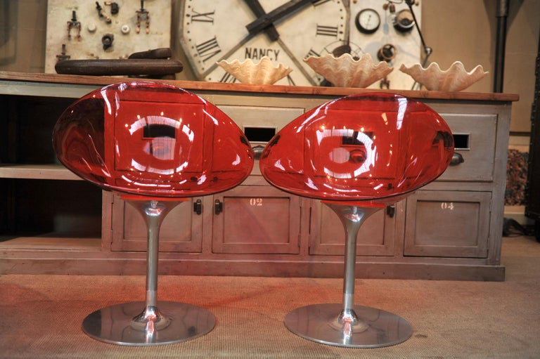 Aluminum Set of 4 Seats in Orange Polycarbonate on Chrome Aluminium by Philippe Starck For Sale