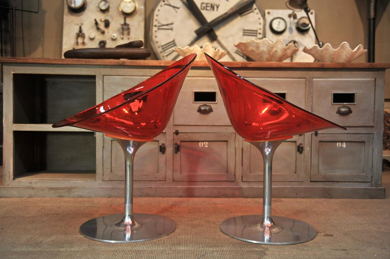Modern Set of 4 Seats in Orange Polycarbonate on Chrome Aluminium by Philippe Starck For Sale