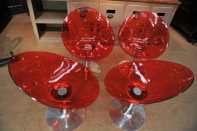 Set of 4 Seats in Orange Polycarbonate on Chrome Aluminium by Philippe Starck For Sale 2