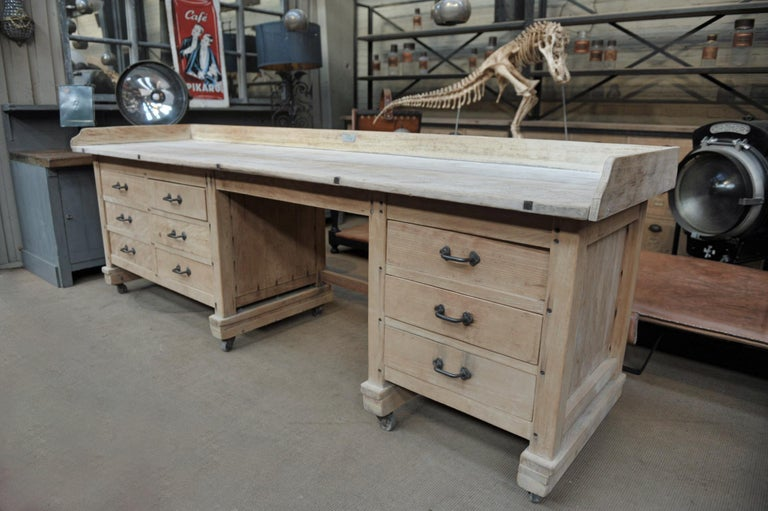 Exceptional Long Baker Work Table with 9 Drawers, circa 1920 For Sale 7