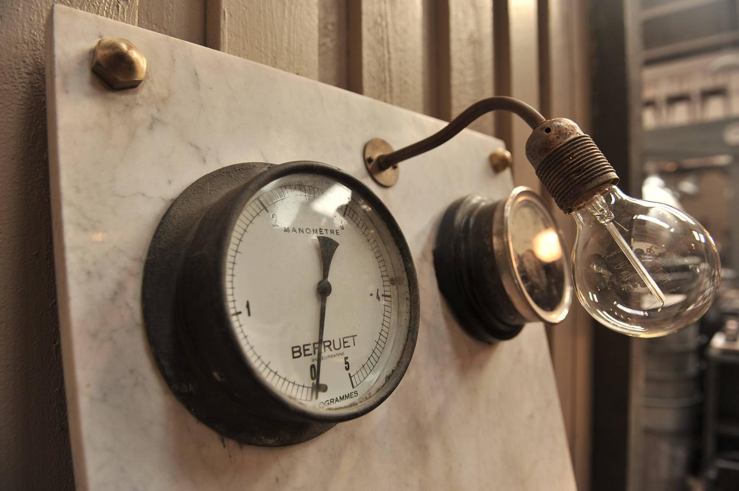 French Industrial Wall Lights : 1940s French Factory Switchboard Industrial Wall Light For Sale at 1stdibs