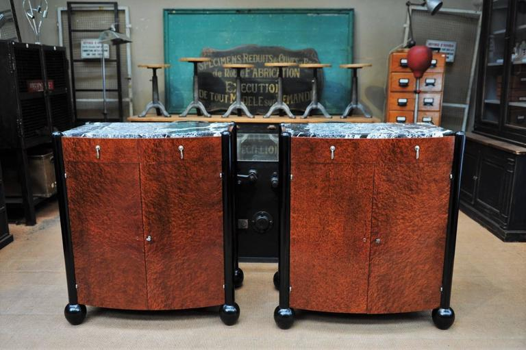 Pair of Art Deco Curved Burl Wood and Marble Buffets, circa 1925 9