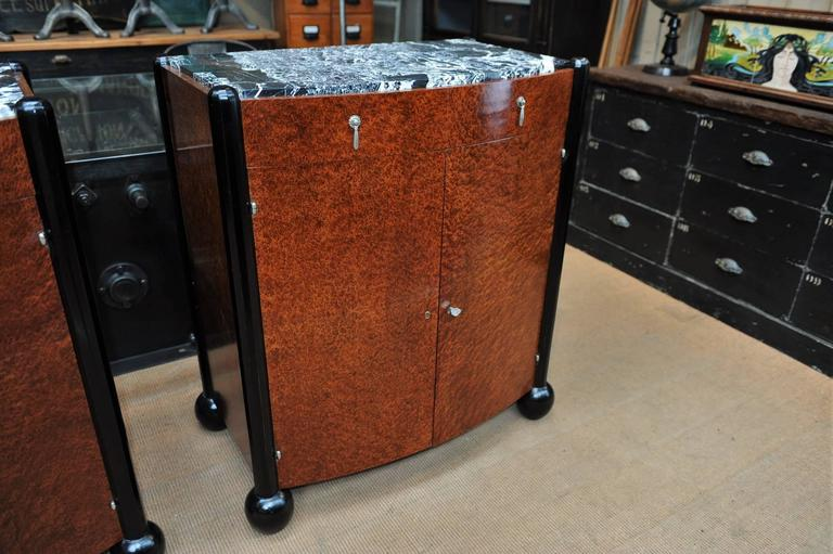 Pair of Art Deco Curved Burl Wood and Marble Buffets, circa 1925 7