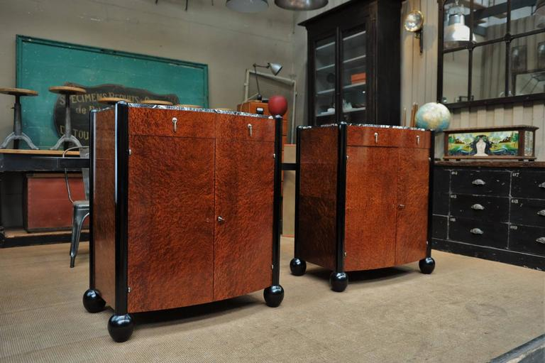 Pair of Art Deco Curved Burl Wood and Marble Buffets, circa 1925 3