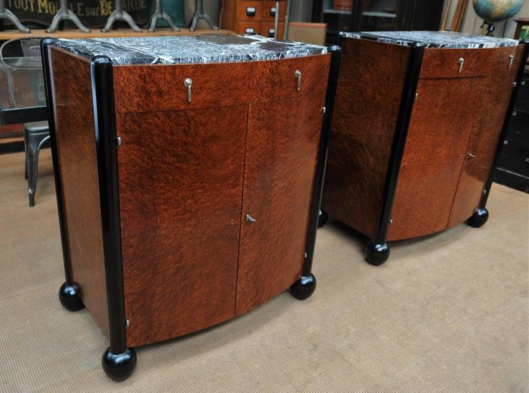 Pair of Art Deco Curved Burl Wood and Marble Buffets, circa 1925 10