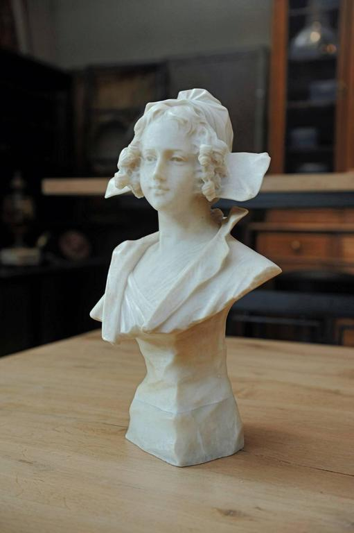 Antique Young Woman Alabaster Bust Statue Signed G Pochini